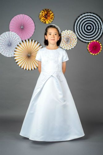 A-Line Communion Dress with Short Sleeves